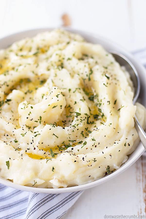 These pressure cooker mashed potatoes are already creamy but you can make them even more creamy by adding cream cheese.