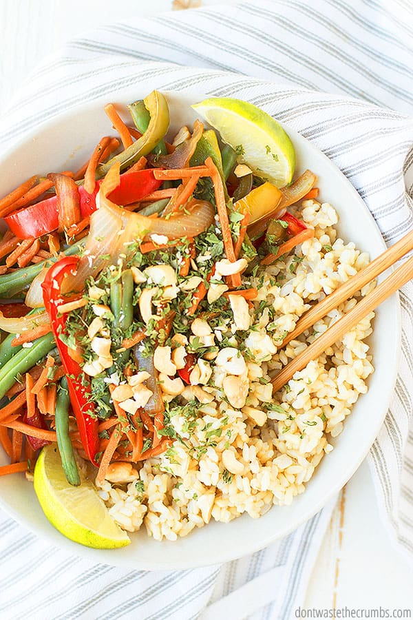 This weeknight stir fry is perfect for the whole family. Use frozen or fresh veggies, whichever you have on hand!