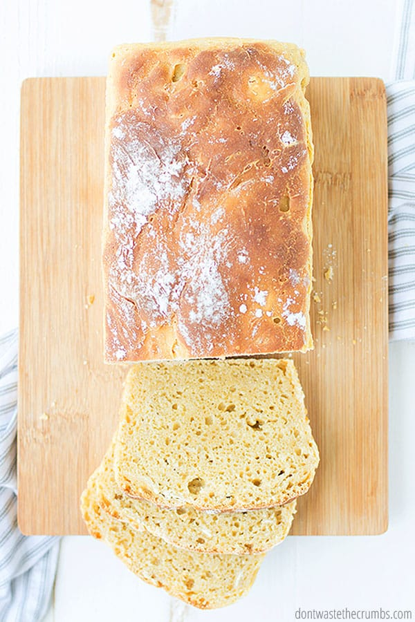 Enjoy homemade sourdough sandwich bread - toasted or as the base for grilled cheese, or as is! It's always delicious.