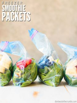 Easy way to make frozen green smoothie packs using produce from Walmart, Costco, or even ALDI! Meal prep smoothies for the freezer to save time later! :: DontWastetheCrumbs.com