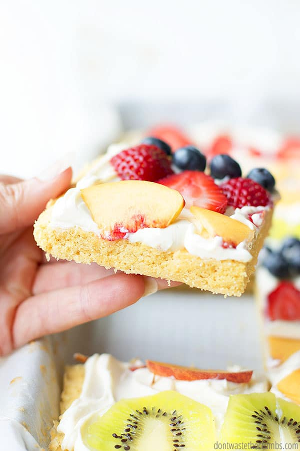 Healthy Fruit Pizza is a versatile dessert for any occasion. Slice it into pizza squares, or bake as individual cookies!