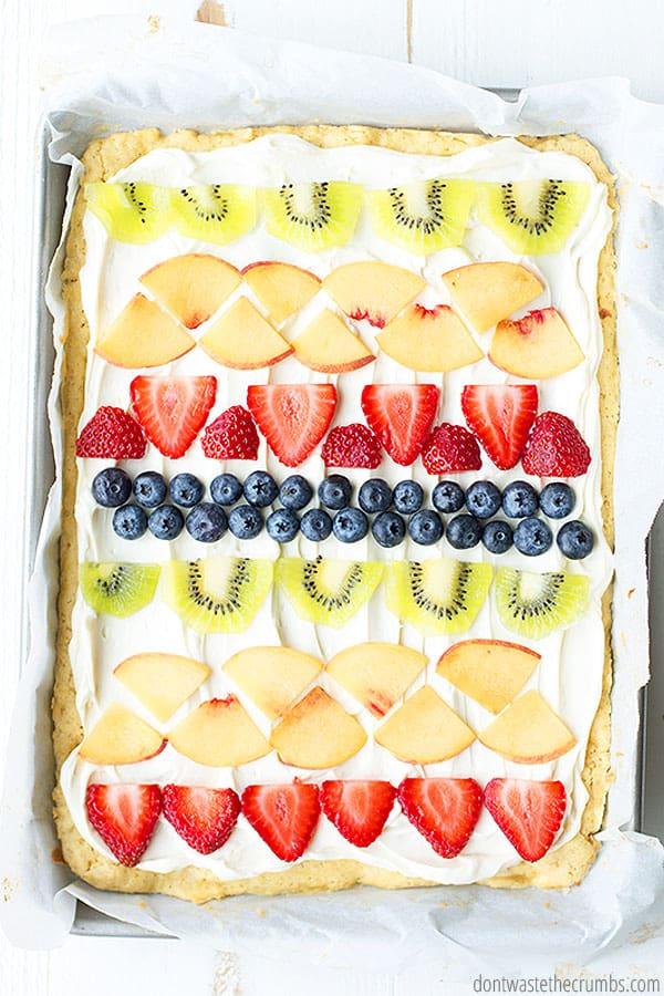Homemade Fruit Pizza is delicious year 'round with fresh seasonal fruit!