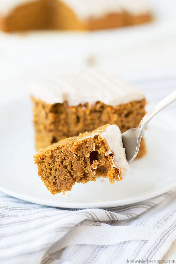 This pumpkin cake can be made as a sheet cake, bundt cake, roll cake, or even in a round pan.