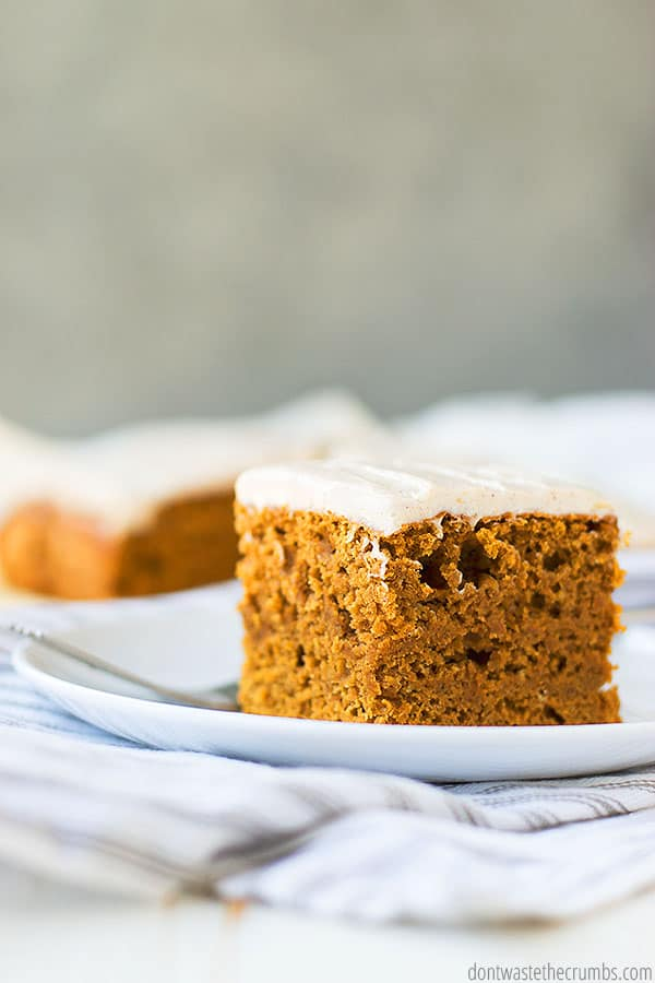 This easy to make pumpkin cake is best topped with cream cheese frosting, which is also a breeze to make and is naturally sweetened.