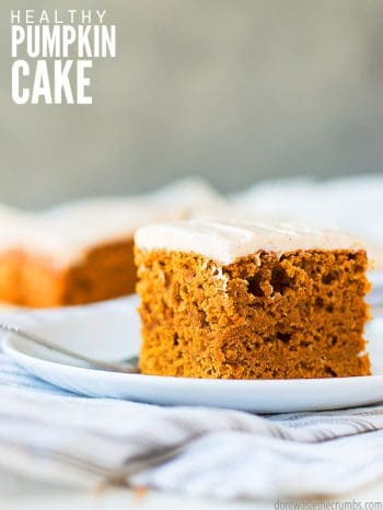 An easy and healthy recipe for pumpkin cake topped with fresh cream cheese frosting! Made with homemade pumpkin puree made from scratch or from the can. :: DontWastetheCrumbs.com