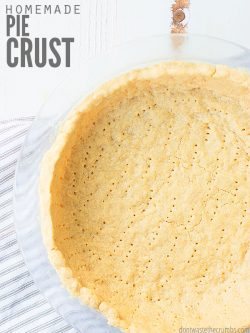 This very easy to make homemade pie crust recipe is perfect for chocolate, pumpkin, or fruit pie. Since it's made without Crisco shortening, it's healthier! :: DontWastetheCrumbs.com