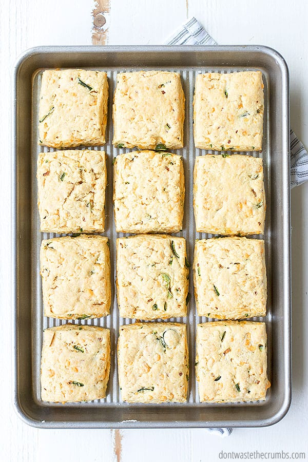 You can make these spicy cheddar biscuits drop biscuits or squares!