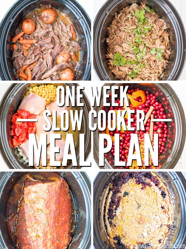 Save time and money with this one week meal plan featuring healthy slow cooker recipes with chicken, beef, pork and vegetarian ideas. Every recipe is super easy, and approved by my picky kids! :: DontWastetheCrumbs.com