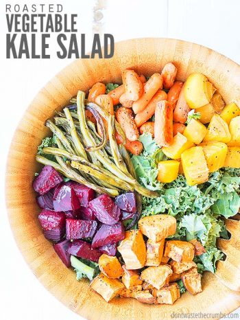 This roasted vegetable kale salad is flexible, naturally vegetarian & vegan. Delicious with root veggies, carrots, quinoa and a creamy Asian dressing! :: DontWastetheCrumbs.com