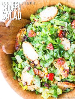 Easy recipe for southwest salad with cilantro lime dressing vinaigrette. As-is it's vegetarian, or add chicken. Way better than Wendy's and McDonald's! :: DontWastetheCrumbs.com