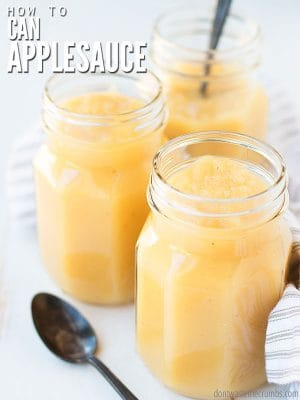 Learn how to make and can applesauce with this easy, freezer-friendly, step-by-step tutorial. Option for chunky applesauce and canning with peels! :: DontWastetheCrumbs.com