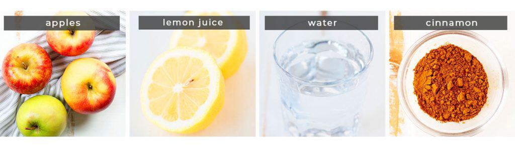 Image showing recipe ingredients apples, lemon juice, water, and cinnamon.