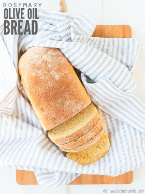 Make this artisan rosemary olive oil bread recipe quickly in a dutch oven or machine. Inspired by La Brea, it's become our family's favorite yeast bread! :: DontWastetheCrumbs.com
