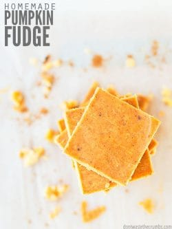 Easy homemade pumpkin fudge uses 5 simple ingredients that you probably already have! Foolproof recipe and has a delicious old fashioned flavor I love! :: DontWastetheCrumbs.com