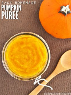 Learn how to make homemade pumpkin puree with this easy & healthy recipe! Use the oven, slow cooker, or instant pot. Perfect in pumpkin recipes & baby food. :: DontWastetheCrumbs.com