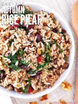 This simple autumn rice pilaf is a delicious gluten-free alternative to traditional stuffing. Simple & ready in 20 minutes, enjoy the flavor of the season! :: DontWastetheCrumbs.com