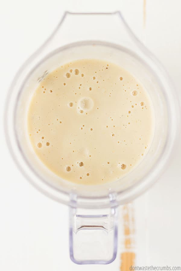 To make an eggnog smoothie, add ingredients to your favorite blender and blend! Easy peasy!