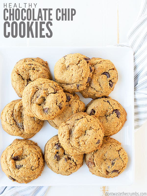 This healthy chocolate chip cookies recipe uses less sugar and is made with whole grains!