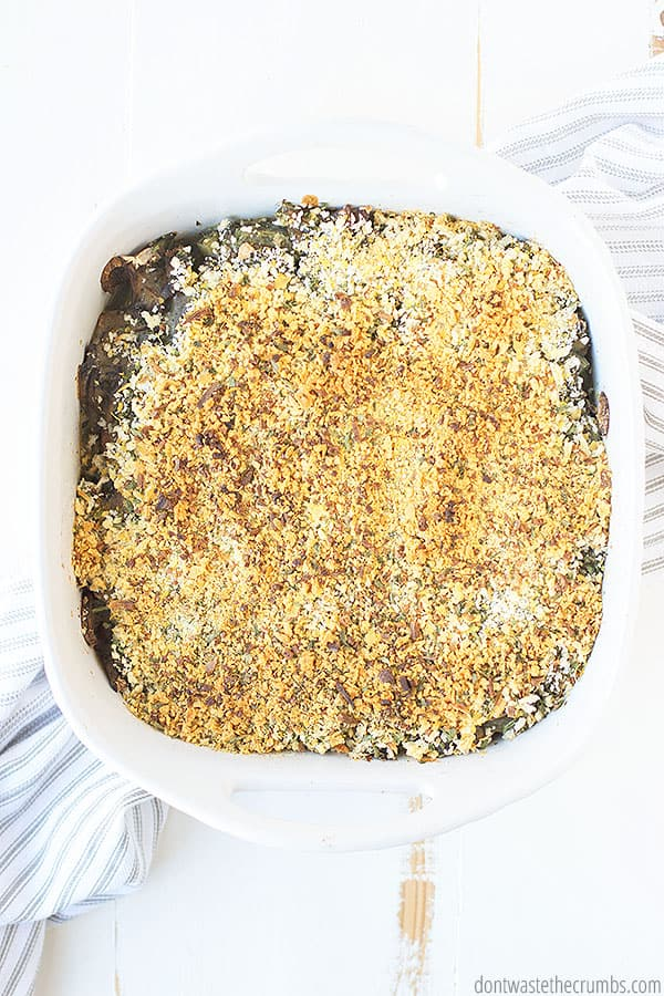 This green bean casserole can be made gluten-free, dairy free, or vegan! It is versatile and made with healthy real food ingredients.