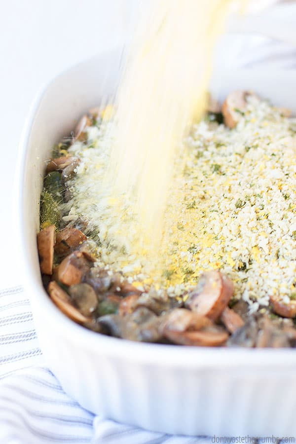 Using fresh green beans for this homemade casserole makes it so delicious and tastes much better (and is healthier) than using canned.
