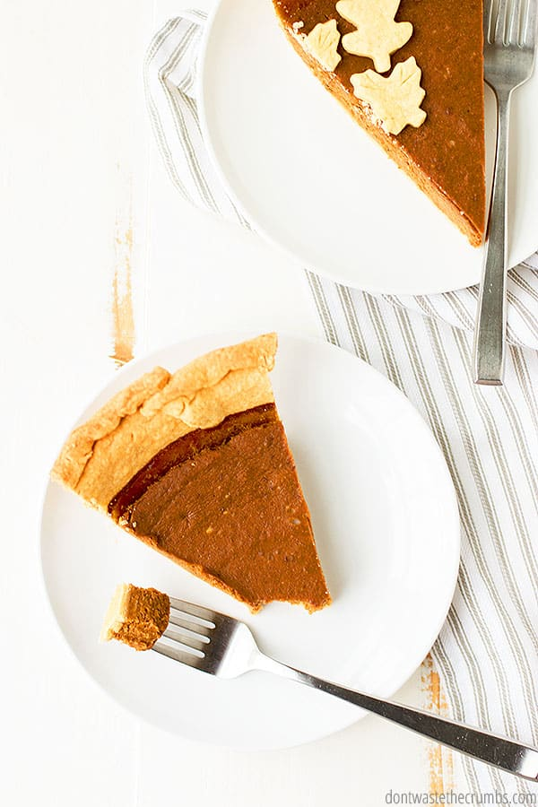 This homemade pumpkin pie recipe has a gluten free option and is dairy free!