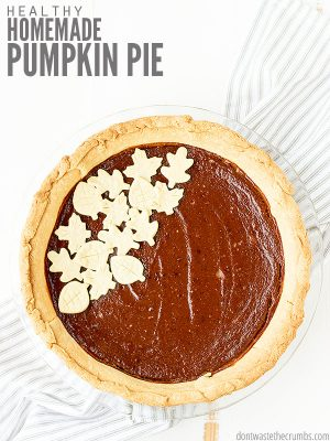 Easy recipe for the best healthy homemade pumpkin pie made with homemade pie crust. The filling is made with fresh pumpkin puree and homemade pumpkin pie spice. :: DontWastetheCrumbs.com