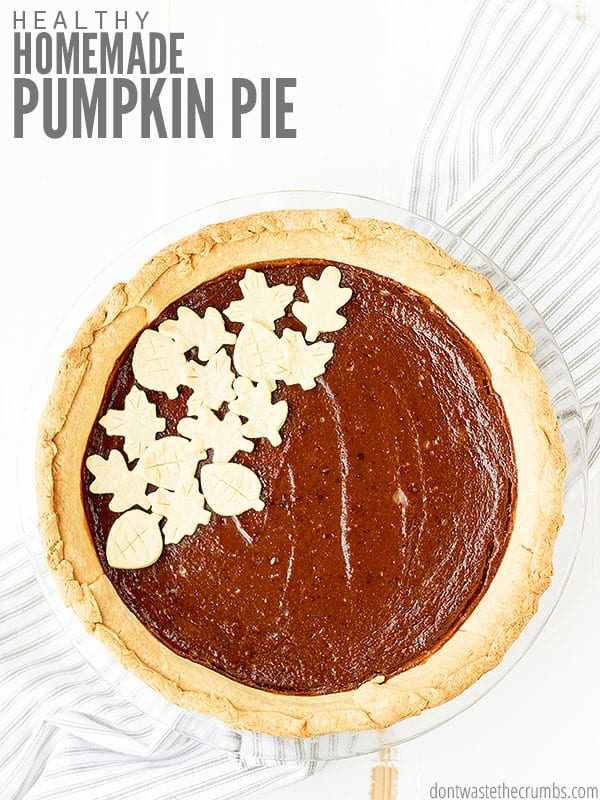 This healthy pumpkin pie recipe is perfect for serving guests or holiday parties!