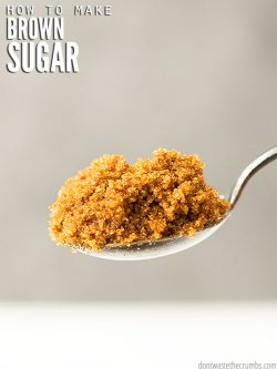 Save money & learn how to make brown sugar using two ingredients: sugar + molasses. Results in soft & healthier brown sugar that you can use in any recipe. :: DontWastetheCrumbs.com