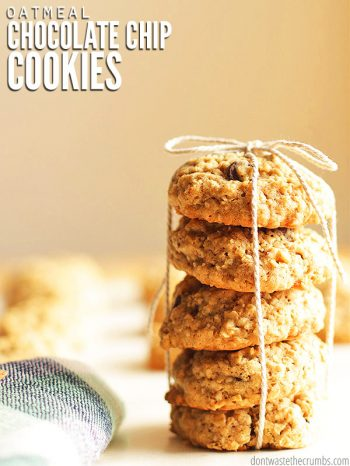 These are the BEST soft and chewy oatmeal chocolate chip cookies. Inspired by Quaker Oats, these cookies vanish before they barely cool!