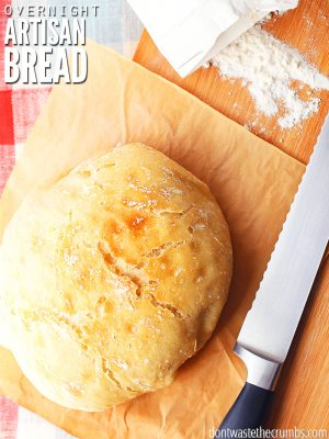 Classic artisan recipe for no-knead bread that is crazy easy. Perfect recipe for beginner bakers, minimal work involved and tastes great every time! :: DontWastetheCrumbs.com