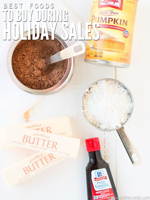 My favorite list of the best foods to stock up on during holiday grocery sales! Take advantage of good deals to save money and stretch your grocery budget! Use your Price Book to know when a sale is the rock bottom price!