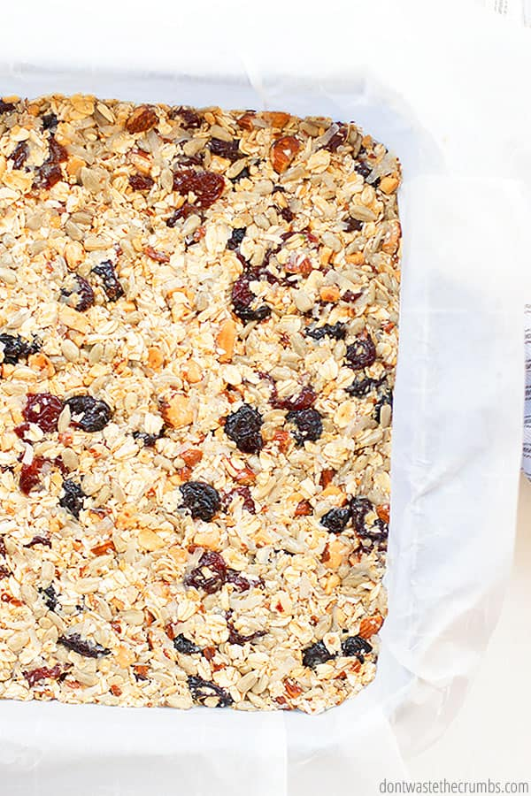 The glue that keeps the granola bars together in this easy recipe is sweetened condensed milk. Did you know you can make condensed milk at home as well?