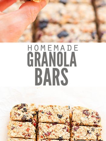 A simple recipe for the best homemade granola bars. They're healthy, chewy, crunchy, versatile, made without honey, and naturally vegan! The perfect snack. #dontwastethecrumbs