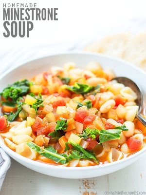 This easy minestrone soup is full of nutritious veggies, beans and pasta! Can also be made in the instant pot or slow cooker, saving time and money! ::dontwastethecrumbs
