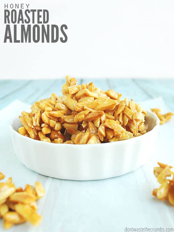 Homemade honey roasted almonds are amazing! Way cheaper than store-bought and healthier too!