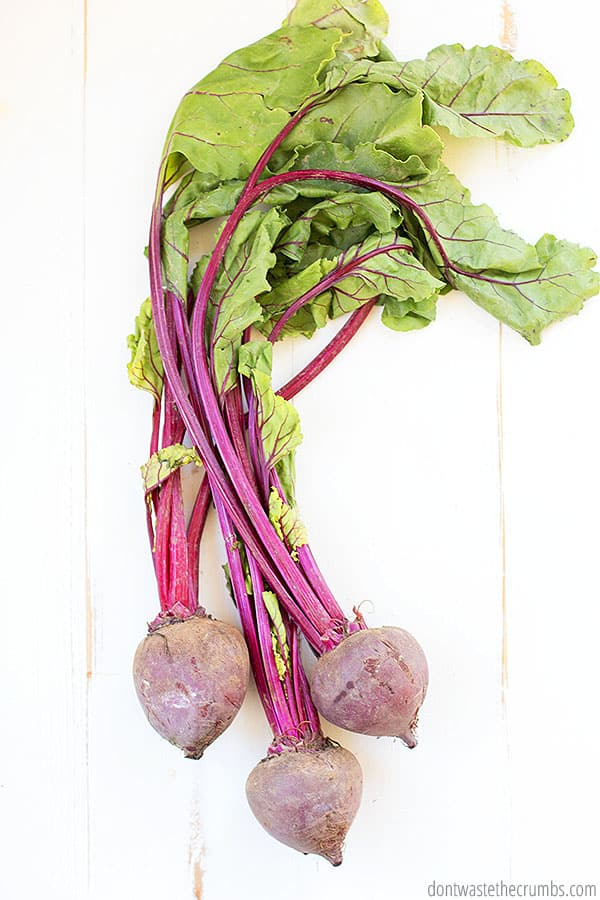 If you prefer beets with the stems on, you can saute the leaves with olive oil and garlic for a delicious side dish!
