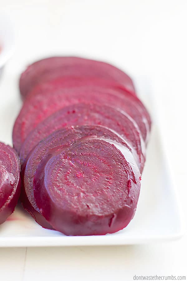 After roasting, serve beets sliced or diced or go ahead and add to your favorite recipes!