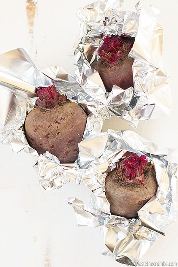 It is easiest to roast unpeeled beets in foil, for a satisfying sweet taste!
