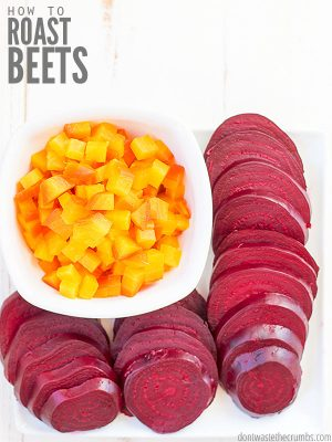 Learn How to Roast Beets with this simple and easy method. Packed with nutrition, red and golden beets are sweet and delicious in season! ::dontwastetheecrumbs