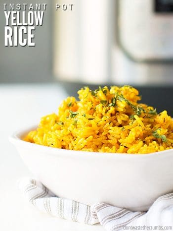 Learn how to cook yellow rice in an Instant pot or pressure cooker with this quick & easy recipe. Use simple, real food ingredients for the absolute best yellow rice! :: DontWastetheCrumbs.com