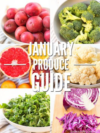 Enjoy this In Season Produce Guide for January with fresh fruits, vegetables and recipe inspirations to help you cook wholesome meals for the whole family this winter. ::dontwastethecrumbs