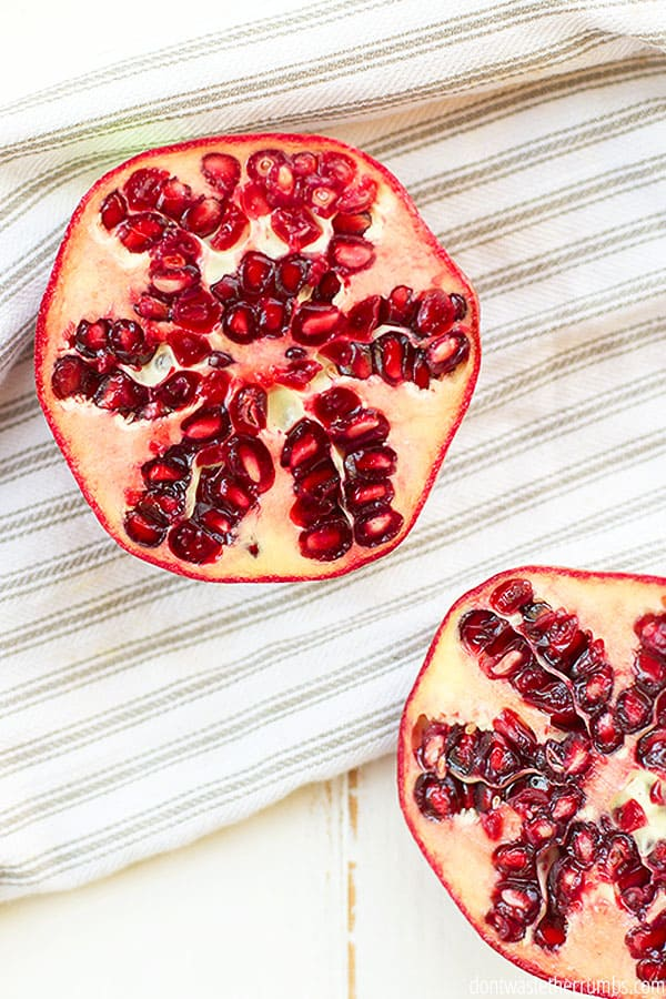 Lucky for us, these little gems are also still in season in December! Pomegranates add such beautiful color to recipes. Their taste is juicy, sweet and astringent.