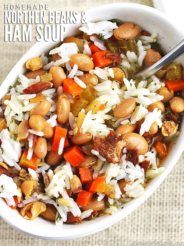 Try adding this frugal and delicious recipe to your menu. Northern beans and ham soup is made in a slow cooker and it's perfect for cold winter days! :: DontWastetheCrumbs.com