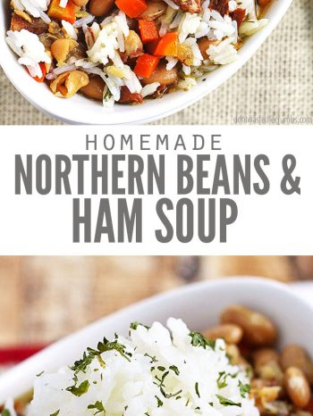 Try this frugal and delicious classic recipe for Northern Beans and Ham Soup. Easily made in the Crock Pot or Instant Pot and perfect for cool winter days! #crockpot #easy #savory #hearty #greatnorthernbeans #slowcooker #instantpot #dontwastethecrumbs