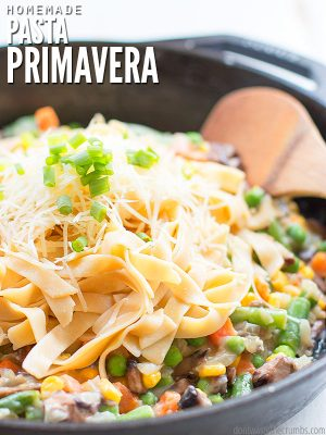 This vegetable pasta primavera recipe is light & easy, made with creamy cauliflower sauce & any vegetables you have! Add meat or make it dairy/gluten-free. :: DontWastetheCrumbs.com