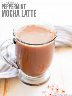 This homemade peppermint mocha latte recipe is delicious, easy to make, and healthier than Starbucks! Make it at home with ingredients in your pantry! :: DontWastetheCrumbs.com