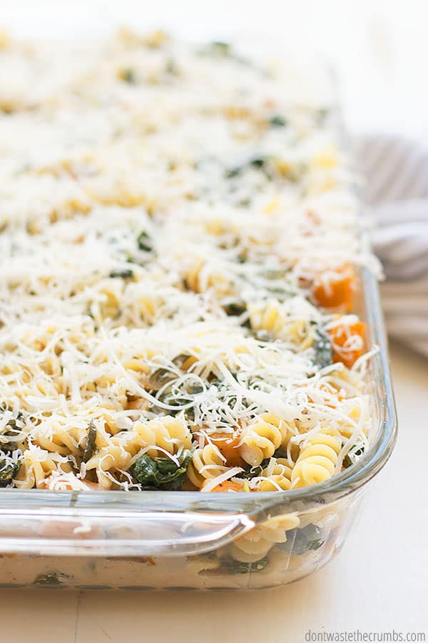 Parmesan. You had me at parmesan. Creamy Butternut Squash Pasta Bake is my family's new favorite casserole!