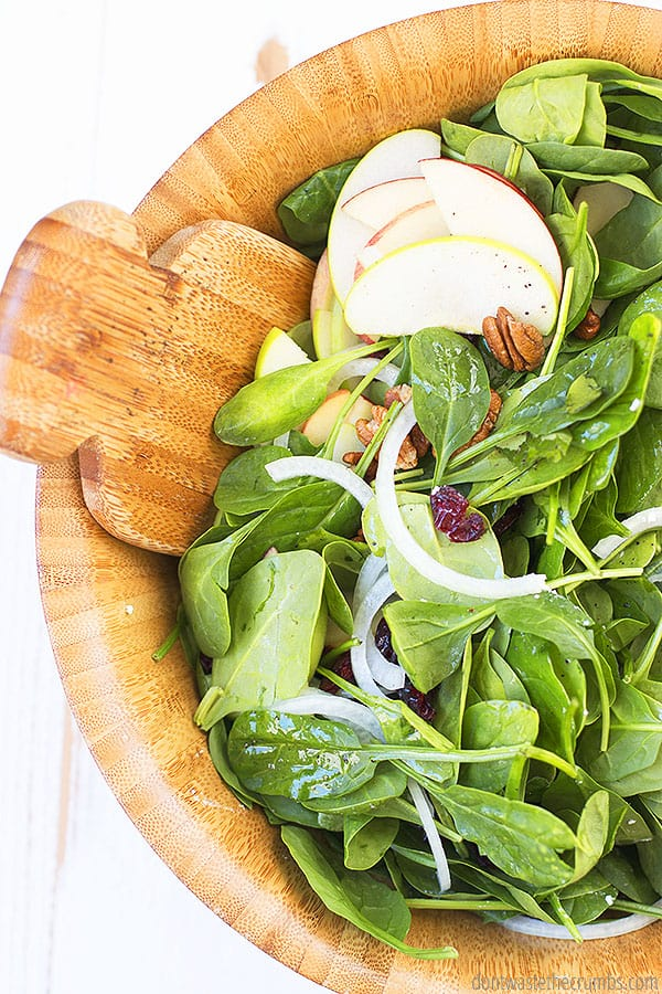 I've made this easy spinach salad a main meal before by adding chicken. You can add protein of your choice, like bacon, strips of steak, and more. It is great without meat too, and makes a nice vegetarian salad.