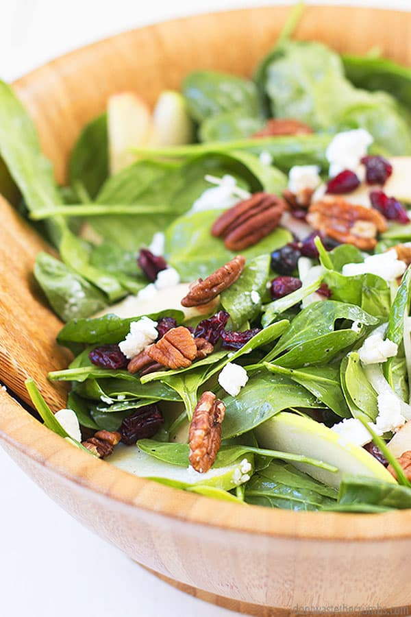 Do you love apples in salads? With this spinach salad recipe, you can use any variety of apples you have on hand!