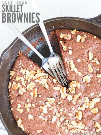 This easy recipe for Cast Iron Skillet Brownies is so chocolatey, delicious, and versatile! Cook it on the stove, in the oven, or over an open flame! Makes for the perfect dessert any time of the year! Serve with a dollop of homemade whipped cream or my homemade vanilla bean ice cream!